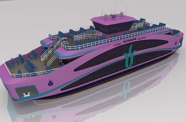 istanbula yeni mor renkli vapur gemi